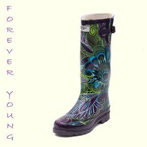 Women Tall Patterned Rain Boots, #1505, Bloom